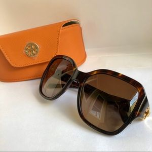 TORY BURCH Square Sunglasses, Tortoise Brown